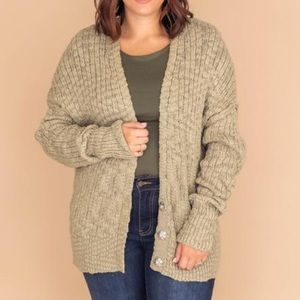 NWOT You're On My Mind Knit Olive Cardigan
